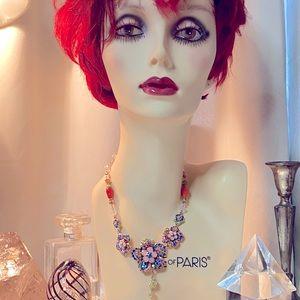 Betsey Johnson Flower & Rhinestone Necklace